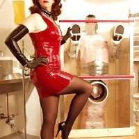 Strict mistress practicing an experimental training on her obedient male slave