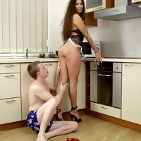 Housemaid's hot bum. The chick's ass can't but arise an irresistible temptation for licking