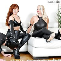 Belittled, Bullied and Busted - Mistress Heather and Lady Mia Harrington / Ball Busting / Leather Fetish / Humiliation / Boot Worship