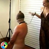 Helpless slave gets threated like a dog