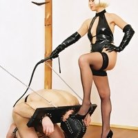 Blond's humiliating games with a submissive slave