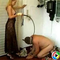 Masked slave man getting humiliated by mistress