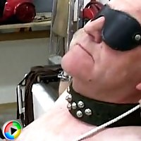 Slave blind folded and getting punished