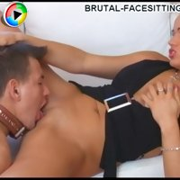 Forced licking videos with masterful blonde bitch and her obedient slave