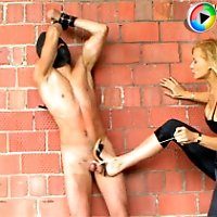 Seductive gorgeous mistress humiliating her ill-behaved slave outside