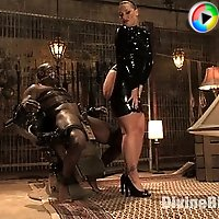Dominatrix with a big ass smothers slave, puts his dick in a cock crimper while he tries to get hard and drenches him with her squirting pussy!