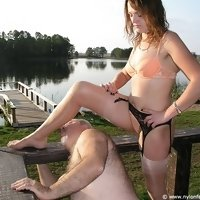 Outdoors nylon licking