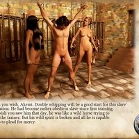 Story about two dominant ladies training man in castle's dungeon illustrated with 3D