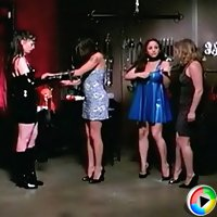Two merciless dominas bind two submissive babes and keep them in bondage